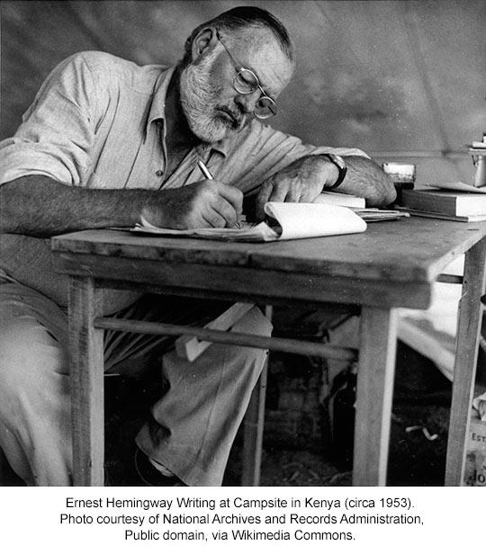 Ernest Hemingway at a campsite in Kenya, 1953