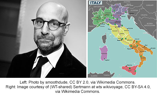 Stanley Tucci and map of Italy