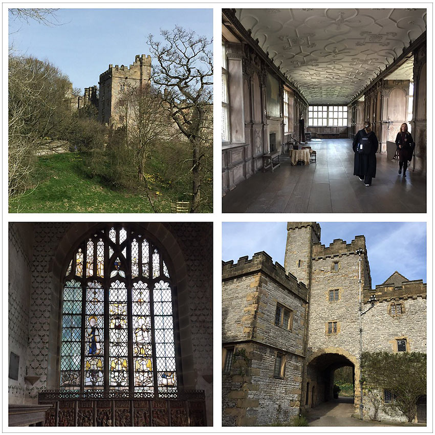 exterior and interior views of Haddon Hall