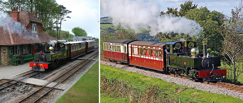 two photos of the Lynton and Barnstaple Railway