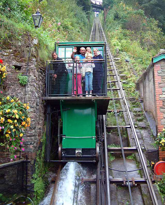Lynton & Lynmouth railway car discharging water