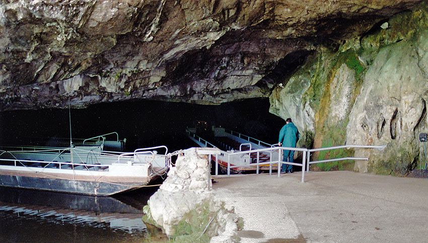parked boats inside the HAN Grotto