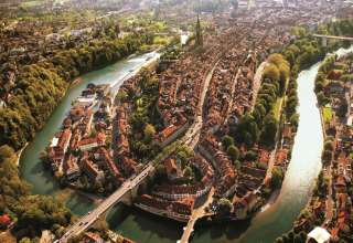 aerial view of Bern showing the Aare river