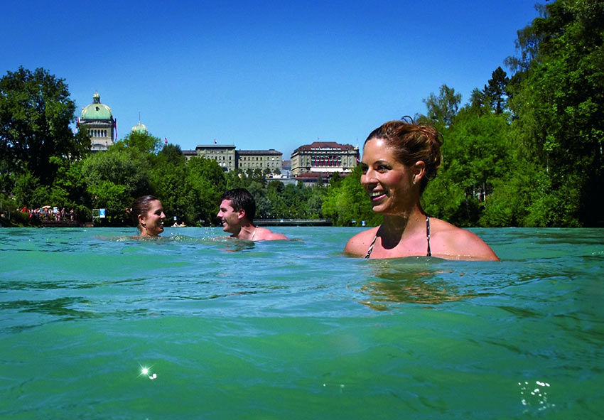 urban swimming at the Aare River in Bern