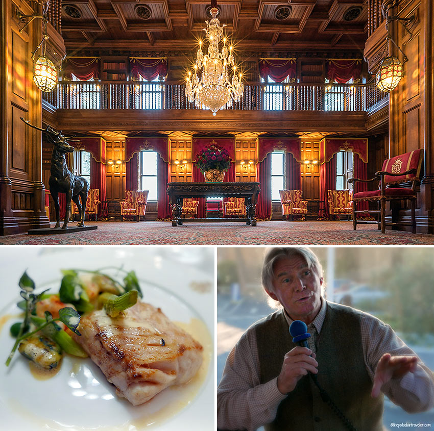inside Ashford Castle, a dish from Chef Philippe Farineau at the George V Dining Room, and Big Mike
