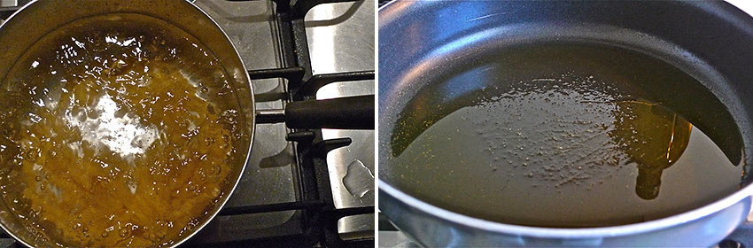 water and olive oil in pans