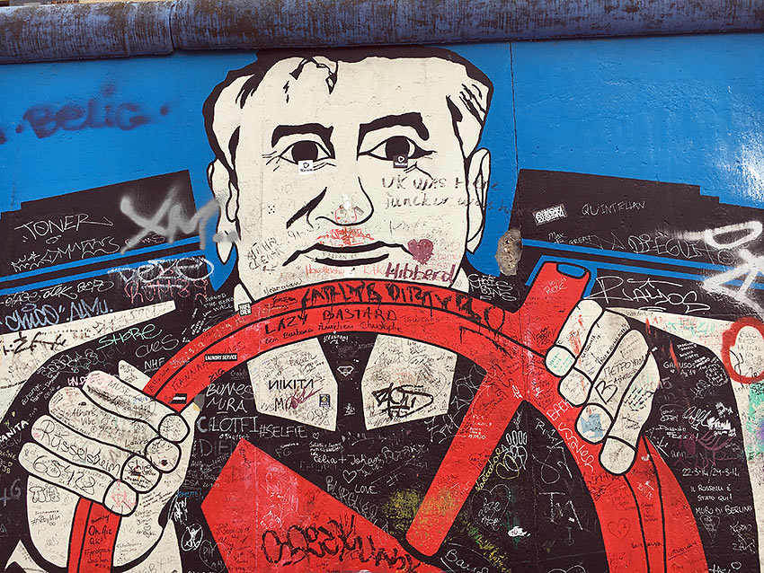 political art show at the East Side Gallery, Berlin