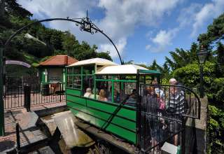beginning of a ride on the Lynton & Lynmouth Funicular Cliff Railway