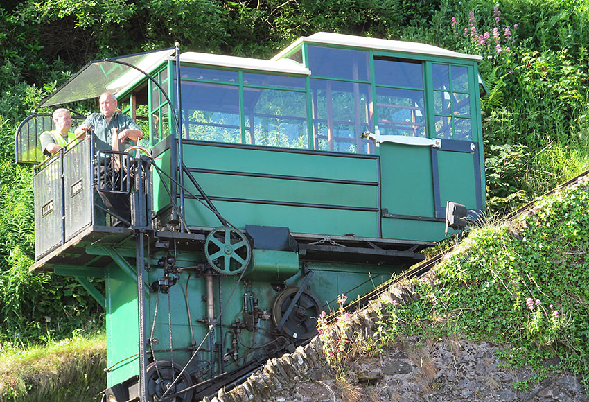 water powered railway car on a steep incline