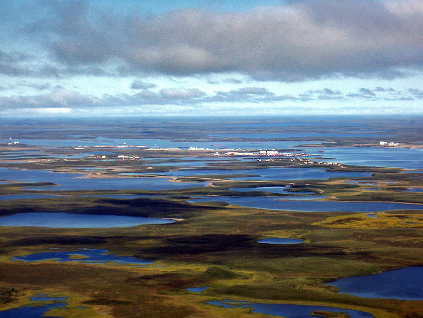aerial view of Tuktoyaktuk from an approaching aircraft