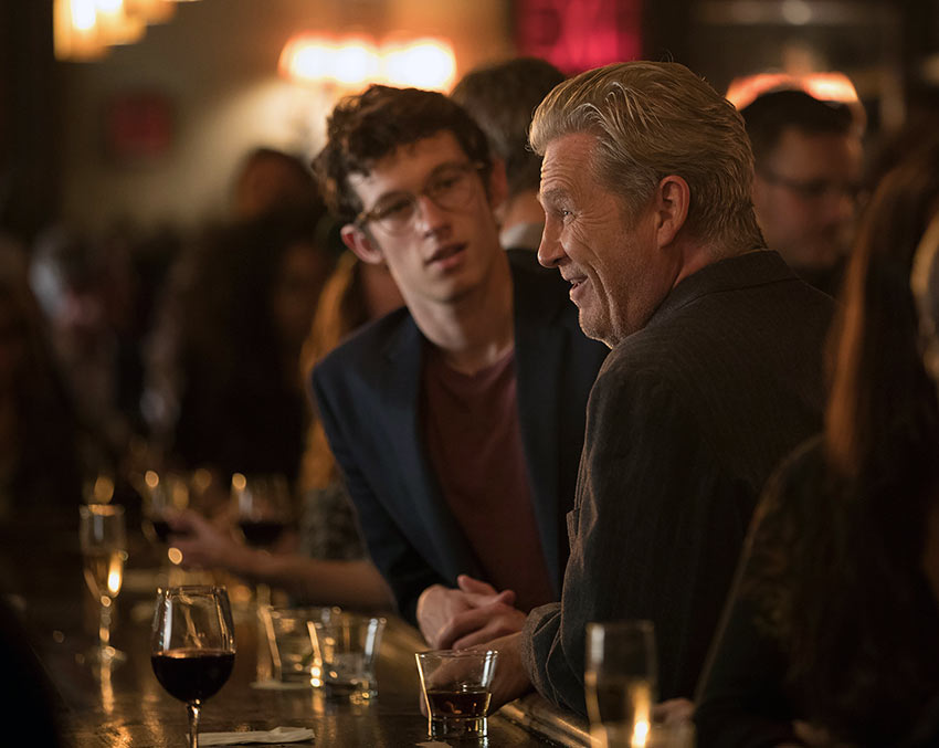 Callum Turner and Jeff Bridges in a scene from 'The Only Living Boy in New York'