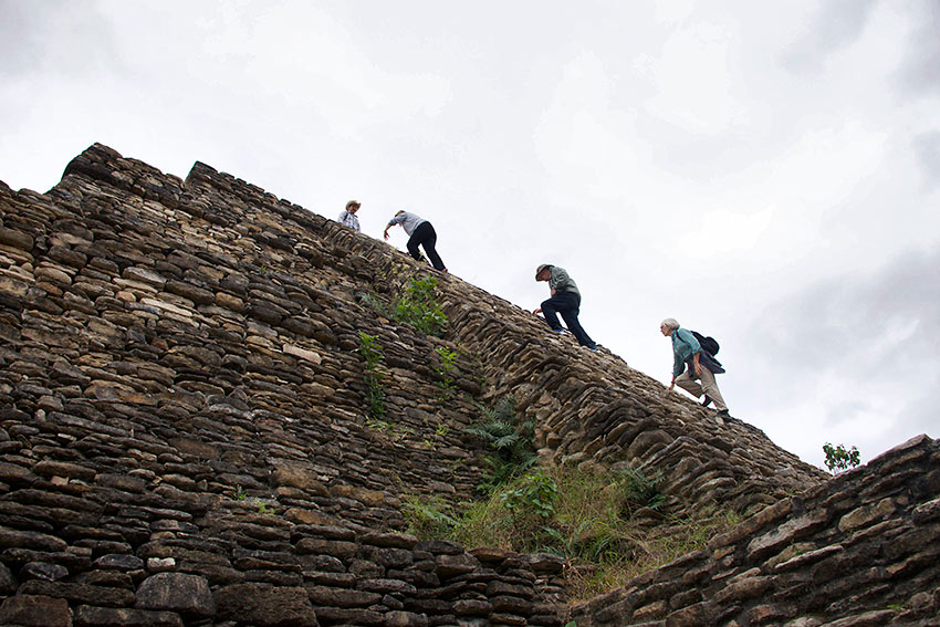 climbing the Great Pyramid of Tonina in Chiapas