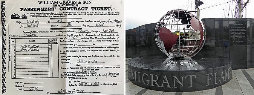 a Passengers' Contract Ticket and The Emigrant Flame