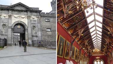 exterior and interior views of Kilkenny Castle