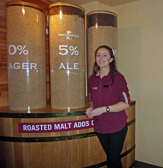 young lady briefs visitors on the history of Kilkenny's Smithwick's Brewery