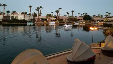 Lake La Quinta waterfront at dusk