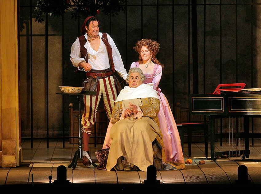 Peter Mattei as Figaro, John Del Carlo as Doctor Bartolo and Joyce DiDonato as Rosina in Rossini's 'Il Barbiere di Siviglia'