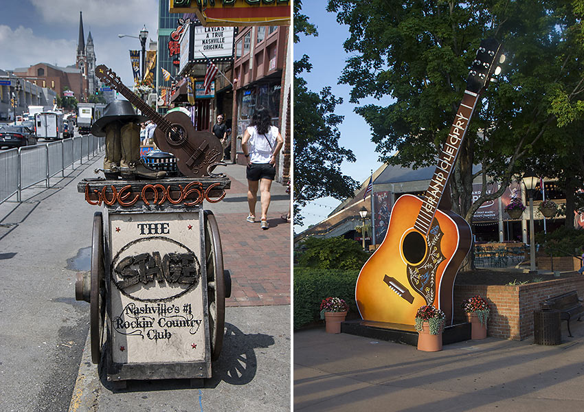 Nashville street with live showcase clubs and venues; the Grand Ole Opry