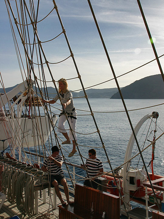 climbing the mast to the crow's nest on the Royal Clipper