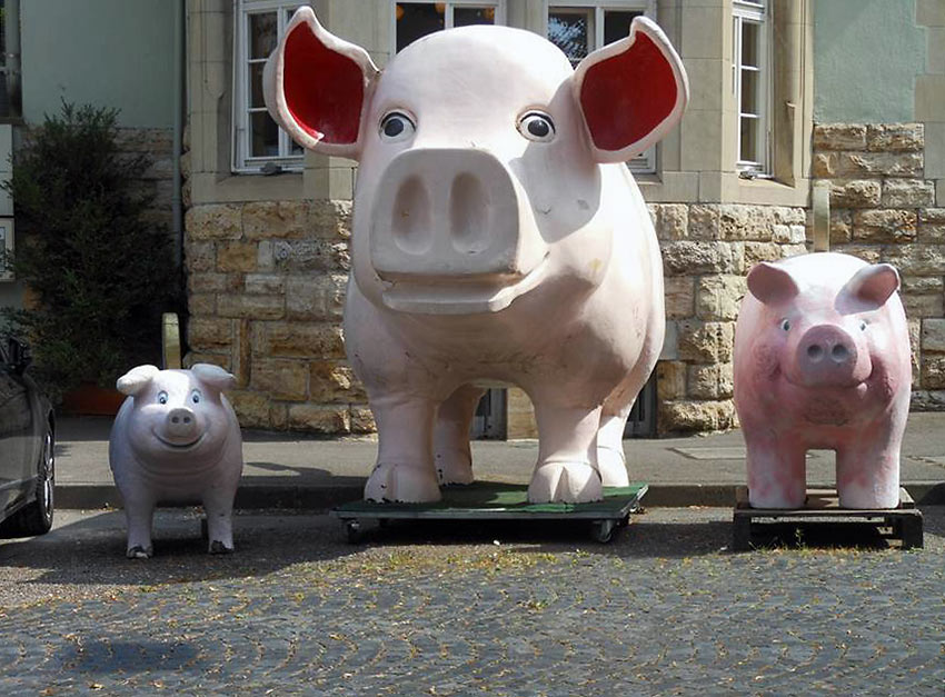 pig figures in front of the Pig Museum