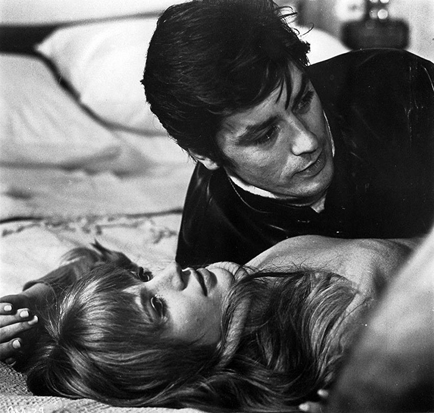 Marianne Faithfull and Alain Delon in a scene from 'The Girl on a Motorcycle'