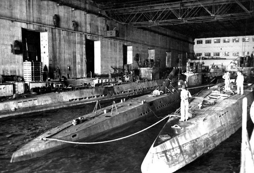 U-Boats at a reinforced concrete pen in Brest France during World War 2