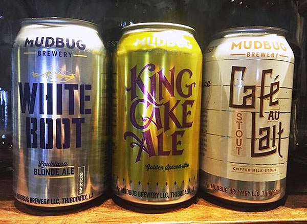 Mudbug Brewery products: Cafe Au Lait beer, White Boots Ale and King Cake Ale