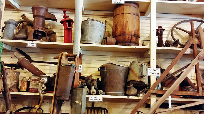 old objects on a shelf at the the Laurel Valley Village and general store, Lafourche Parish