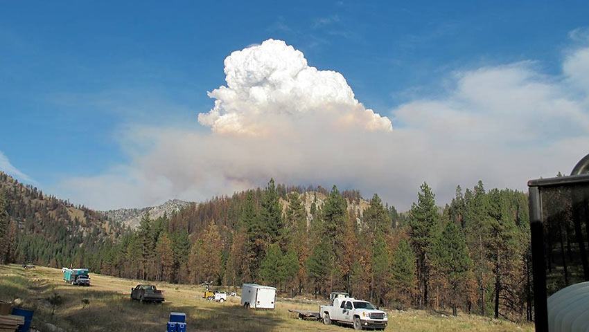 a pyrocumulus (or fire cloud) forms above the Little Queens fire