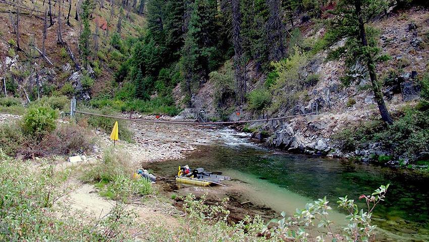 dredge mining set-up on the Middle Fork River