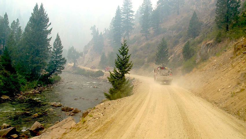 convoy of firefighters