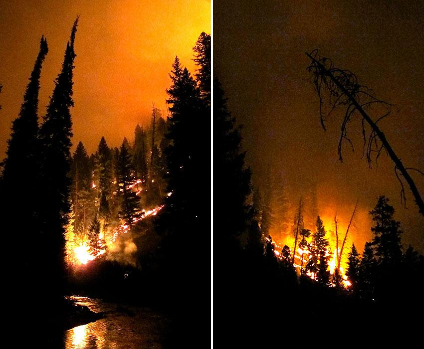 night scenes of the Atlanta, Idaho fire