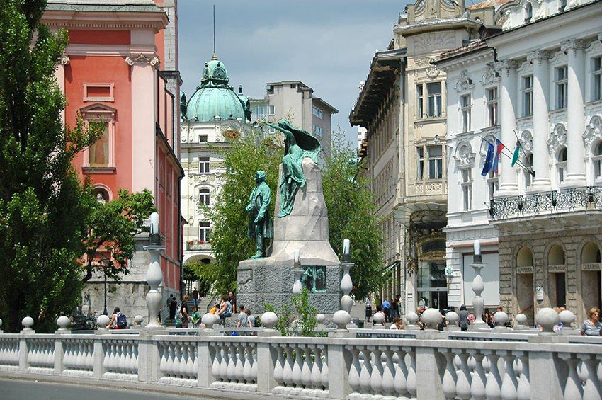 the Prešeren Monument in Ljubljana