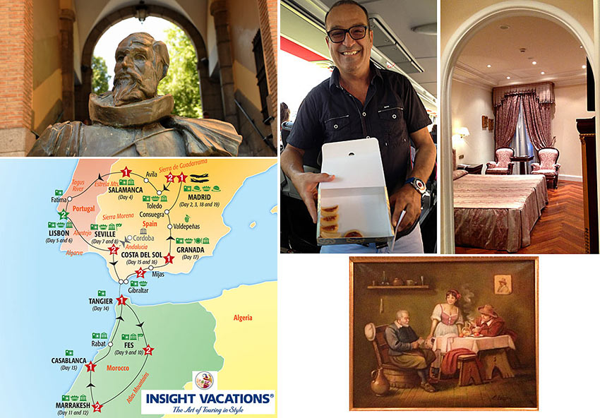 sculpture of Miguel de Cervantes in Toledo, Insight Vavations map of Spain-Portugal-Morocco tour, Toni Aguilar, inside one of the hotel rooms on the tour and oil painting in one of the hotels
