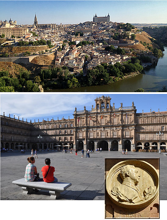 top: Toledo and the Tagus River; bottom: the main square of Salamanca; inset: a plaque of General Francisco Franco at the main square in Salamanca