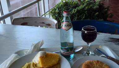 lunch of polenta and wine