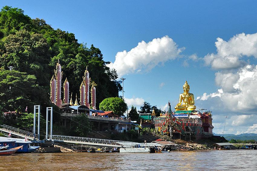 golden Buddha along the Mekong River