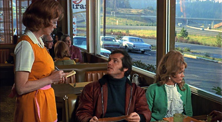 Jack Nicholson and Susan Anspach in a restaurant scene