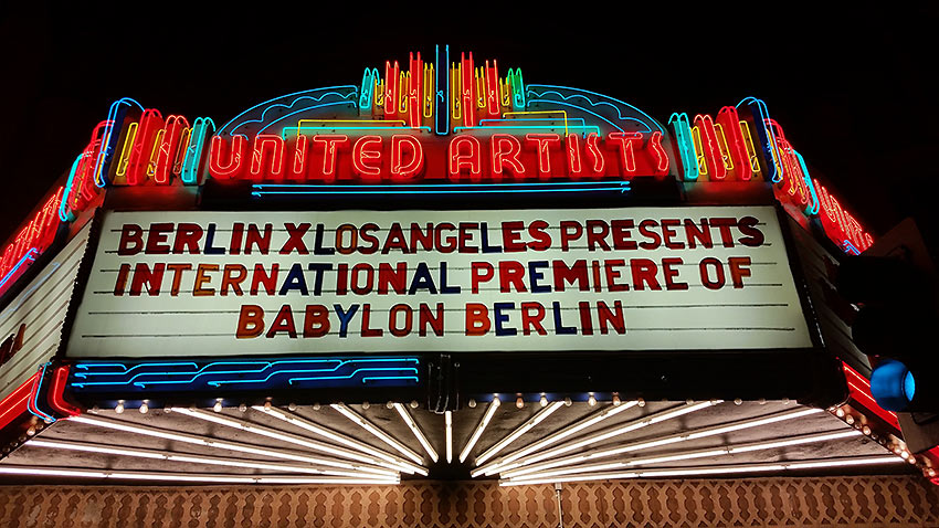 the premiere showing of Babylon Berlin at the Theatre at Ace Hotel