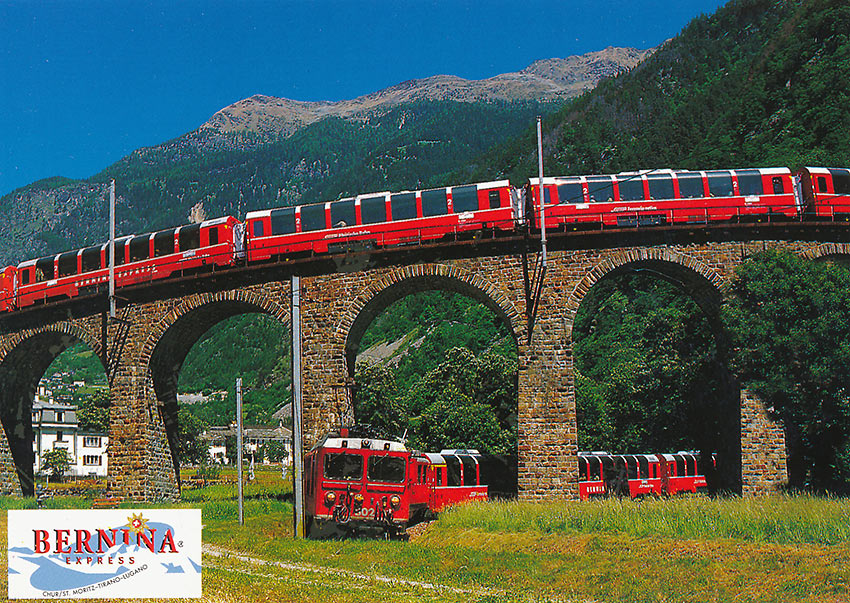 postcard of Bernina Express train at the Brusio Viaduct