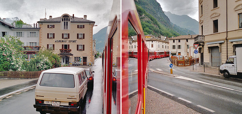 Bernina Express train passing through Tirano, Italy