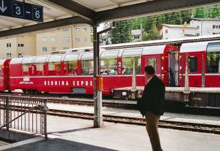 Bernina Express train at St. Moritz, Switzerland