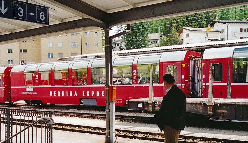 Bernina Express train at St. Moritz, Switzerland