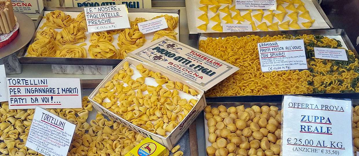 different types of pasta on display in Bologna
