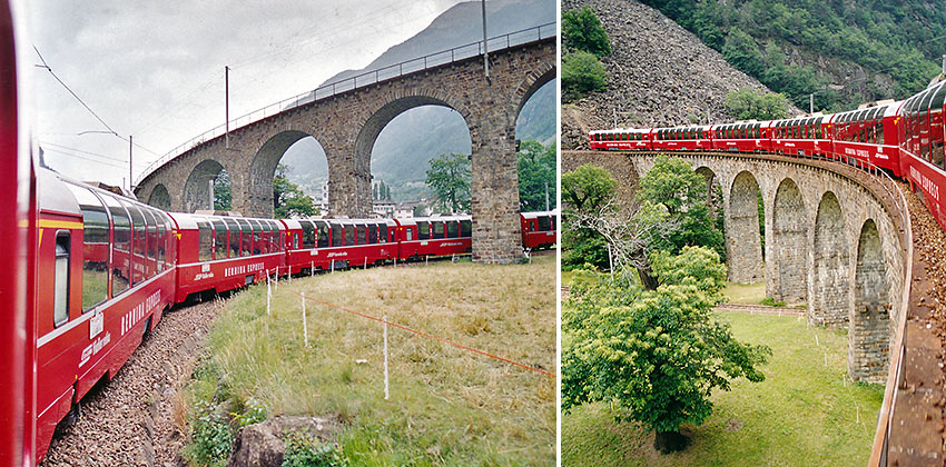 Bernina Express trains passing through Brusio Viaduct
