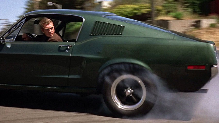 Steve McQueen in a car scene from Bullitt