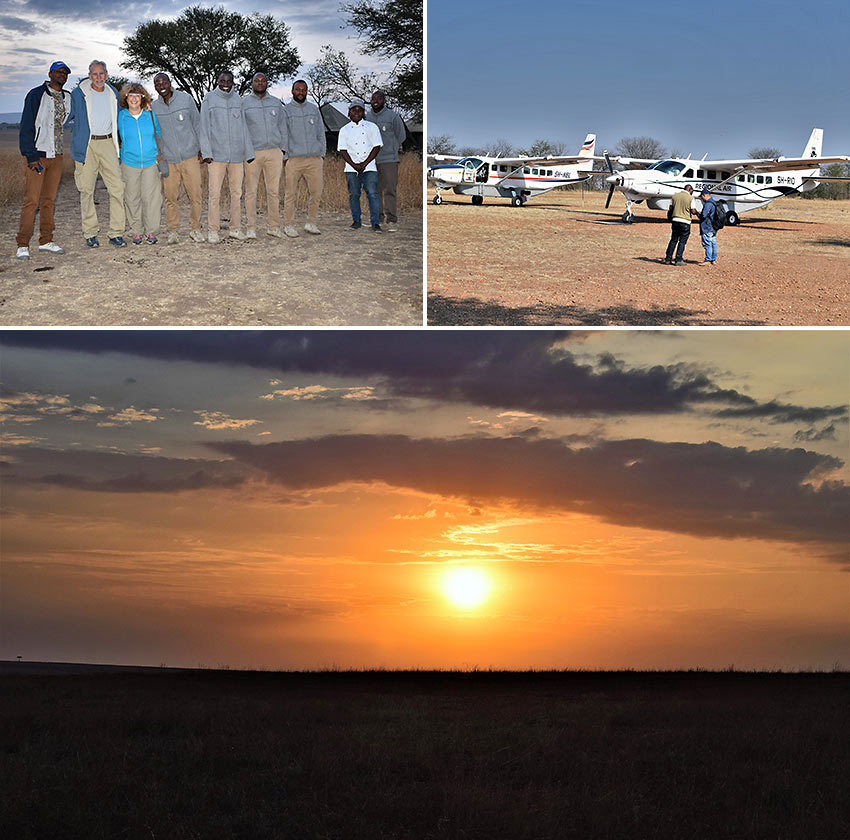 the writer and his wife with Serengeti hosts, at the Kogatende airstrip and Tanzanian sunset