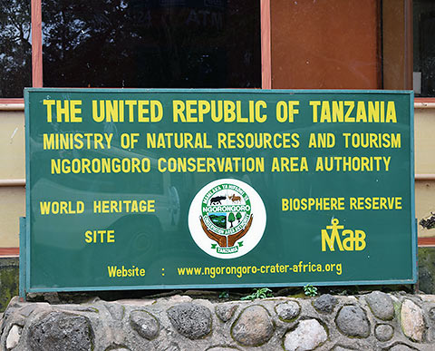 main gate sign at the Ngorongoro Conservation Area