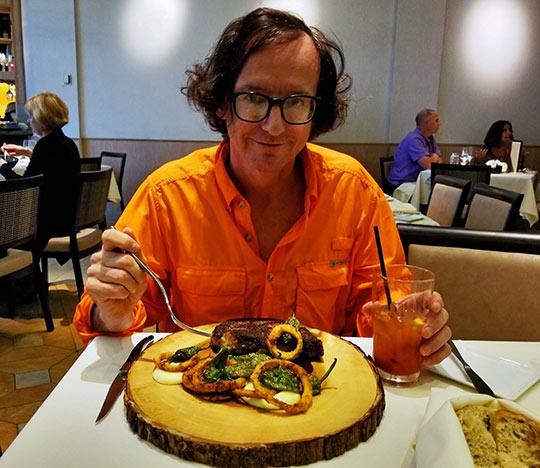 writer sampling Nine-Ten's 40-day aged prime rib-eye steak
