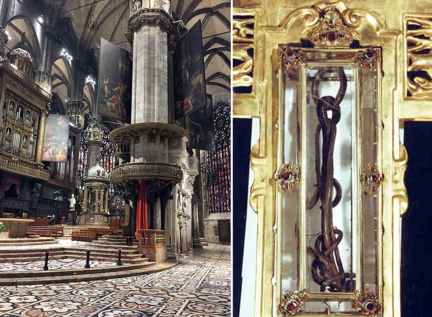 interior of the Duomo and a nail said to be one of the three used in Christ's crucifixion